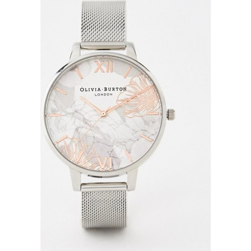 Olivia Burton - OB16VM20 - Armbanduhr mit abstraktem Blumenmuster und Netzband in Silber - Rot