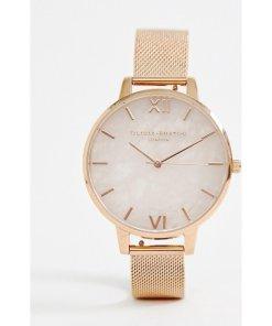 Olivia Burton - OB16SP01 - Armbanduhr mit Halbedelstein Rosenquarz und Riemen im Netzdesign - Gold