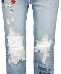 Fashion Victim Destroyed Patch Jeans Girl-Jeans blau