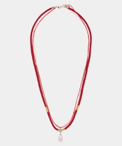 Halskette Weiß-Rot