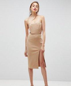 ASOS TALL - figurbetontes Kleid mit Zierausschnitt und Korsettdesign - Beige