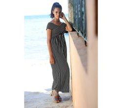 Damen Strandkleid Alba Moda schwarz-weiss