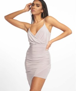 Missguided Frauen Kleid Strappy Slinky Wrap Bodycon in grau