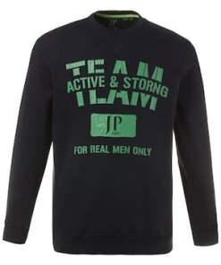 Ulla Popken Sweatshirt, Sweater, TEAM-Motiv, gerippte Abschlüsse - Große Größen 708396