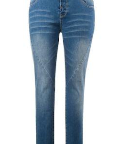 Ulla Popken Curvy-Jeans, Ziernähte vorne, halbverdeckte Knopfleiste - Große Größen 709915
