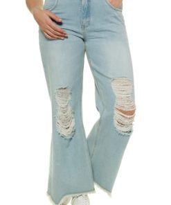 Ulla Popken Jeans, Destroy-Effekte, ausgestelltes Bein, Komfortbund - Große Größen 715098