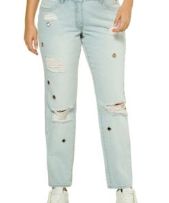 Ulla Popken Jeans, Straight Cut, Zier-Ösen, destroyed, 4-Pocket - Große Größen 716307