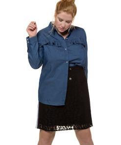 Ulla Popken Bluse, Soft-Jeans, Rüsche, Zier-Perlenknöpfe, Langarm - Große Größen 719587
