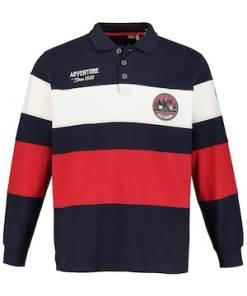 Ulla Popken Rugbysweater, Colorblocking, Adventure, Langarm - Große Größen 720136