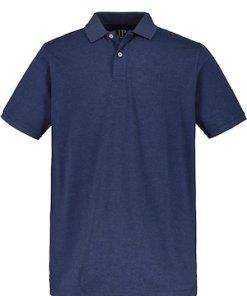 Ulla Popken Poloshirt, Melange-Jersey, JP1880-Bruststick - Große Größen 720268