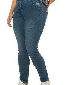 Ulla Popken Curvy-Jeans, Ziernähte, Blütenstickerei, Komfortbund - Große Größen 720683