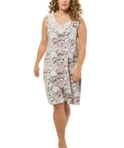 Ulla Popken Nachthemd, Rücken-V-Ausschnitt, Blütenmuster, Spitze - Große Größen 720897