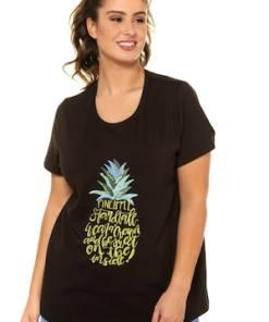 Ulla Popken T-Shirt, Ananasmotiv, Classic, Stickerei, Pailletten - Große Größen 722111