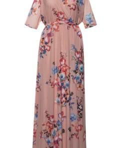Ulla Popken Abendkleid, Wickeloptik, Blütenmesh, Jersey-Unterkleid - Große Größen 722322