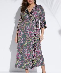 Ulla Popken Kimono-Wickelkleid, Maxilänge - Große Größen 723005