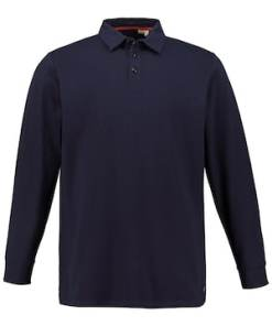 Ulla Popken Langarm-Poloshirt, gemusterter Piqué, Buttondown-Kragen - Große Größen 723262