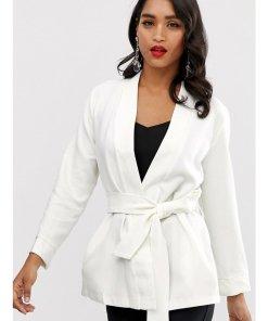 Closet - Kimono-Jacke mit Bindegürtel - Weiß