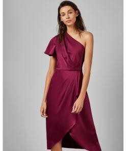 Schulterfreies, Asymmetrisches Kleid Mit Raffungen