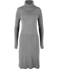 Strickkleid mit Kontraststreifen langarm in grau für Damen von bonprix