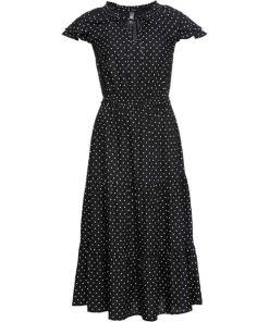 Midikleid mit Punkten kurzer Arm in schwarz für Damen von bonprix