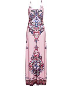 Maxikleid mit Print ohne Ärmel in rosa für Damen von bonprix