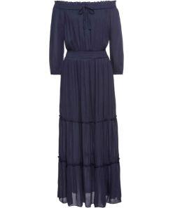Maxikleid mit Carmenausschnitt in blau für Damen von bonprix