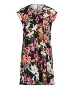 BETTY & CO Sommerkleid mit Blumenprint in Black/Purple , Floral , Casual
