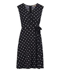 Vera Mont Jerseykleid mit V-Ausschnitt in Dark Blue/White , Gepunktet , Feminin