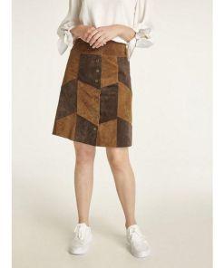 heine CASUAL Lederrock aus weichem Porc-Velours, braun