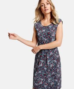 Leichtes Kleid mit Minimaldessin Blau 48/XL