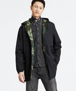 Hooded Coach's Jacket - Schwarz / Caviar
