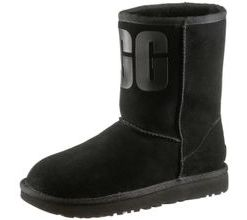 Ugg Classic Short Rubber Stiefel Damen in black, Größe 40