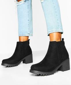 Womens Chelsea-Boots mit elastischem Rippeinsatz - schwarz - 36, Schwarz