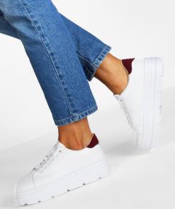 Womens Plateau-Sneaker mit Profilsohle - Weiß - 36, Weiß