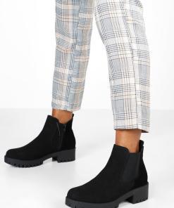 Womens Chelsea-Boots mit Blockabsatz und Profilsohle - schwarz - 36, Schwarz