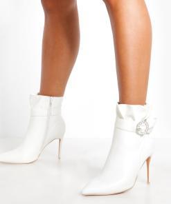 Womens Ankle Boots mit strassbesetzter Schnalle - Weiß - 36, Weiß