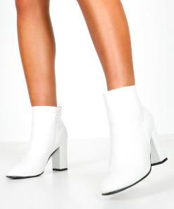 Womens Ankle Boots in Kroko-Optik mit Blockabsatz - Weiß - 36, Weiß