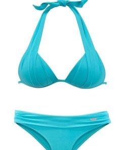 LASCANA Triangel-Bikini mit Push-Up-Effekt blau