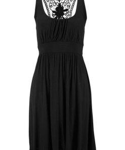 LASCANA Strandkleid mit Spitzenrücken schwarz