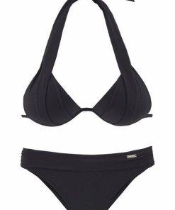 LASCANA Triangel-Bikini mit Push-Up-Effekt schwarz