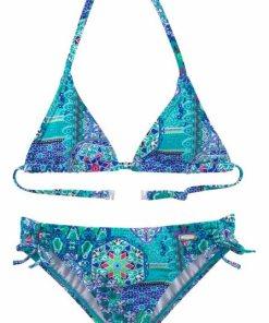 Buffalo Triangel-Bikini im Folklore-Print blau