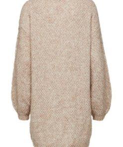 Selected Femme Wollmix- Kleid mit langen Ärmeln braun