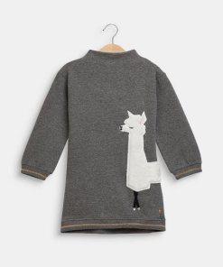 Esprit Sweat-Kleid mit Lama-Applikation grau