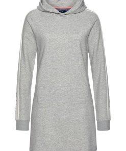 Gant Sweatkleid mit Kontraststreifen und Logodruck am Ärmel grau