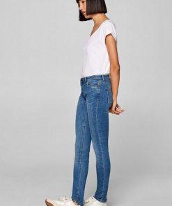 Esprit Stretch-Jeans mit Used-Effekten  recycelt blau