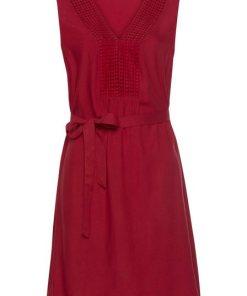 LASCANA Strandkleid (mit Bindegürtel) mit Häkelspitze rot