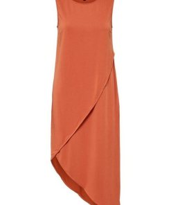 SELECTED FEMME Asymmetrisches Midikleid orange