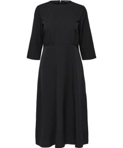 SELECTED FEMME Recyclingpolyester Midikleid schwarz