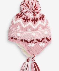 Next Trappermütze mit Norwegermuster rosa