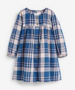 Next Kleid mit durchgehender Knopfleiste blau